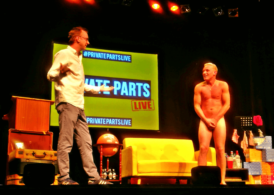 Made in Chelsea news - Jamie Laing, naked on stage, with Francis Boulle for Private Parts show!