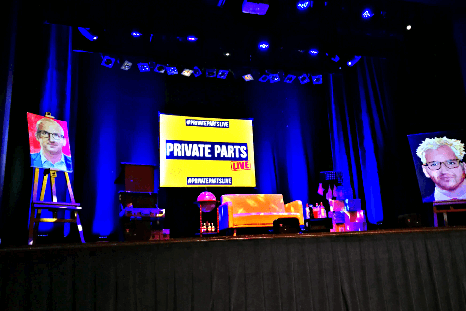 The Private Parts stage, set for Jamie Laing and Francis Boulle of Made in Chelsea fame.